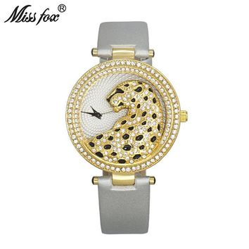 Miss Fox Women Watch Fashion Casual Quartz Leather Watches Rhinestone Ladies Female Gold Clock Diamond Wrist Watches For Women