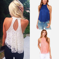 Fashion Women Halter Top Lace Camis Floral vest shirts Sexy Backless Casual Vest Tank Tee Loose TShirt Tops Blouse Fast Shipping