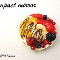 Pastry compact mirror, polymer clay, Kawaii mirror,  fruits, fake food, gold compact mirror