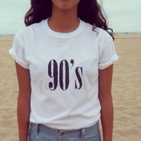 90's Letters Women T shirt Cotton Casual Funny tshirts For Lady Top Tee Hipster Tumblr Black White Drop Ship CB-6