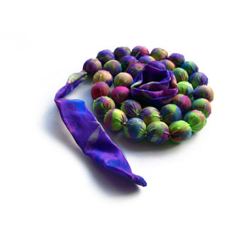 Fabric Necklace, Silk Beaded Ombre Necklace, Purple and Green, Knotted Chunky Necklace, Colourful Textile Jewelry, Summer Gifts for Her
