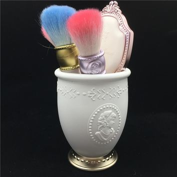 Classic French Makeup Brushes Goat Hair Foundation Powder Blush Contouring Cosmetic Brush Makeup Mirror Brush Holder Stand