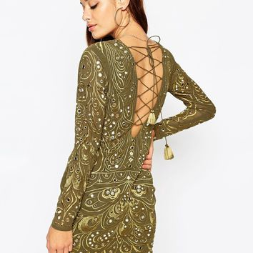 ASOS Khaki Embellished And Embroidered Long Sleeved Mini Bodycon Dress