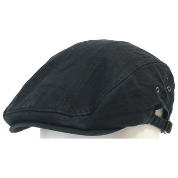 ililily Vintage Washed Newsboy Flat Cap with Strap Details on Both Sides Ivy Driver Hunting Hat (flatcap-529-2)