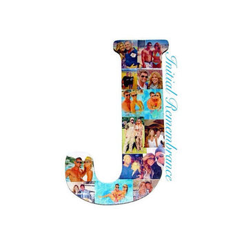 "18"" Letter Photo Collage or Number Collage Anniversary Engagement Birthday Home Decor Bridal Shower Best friend Gift Senior Night Graduation"
