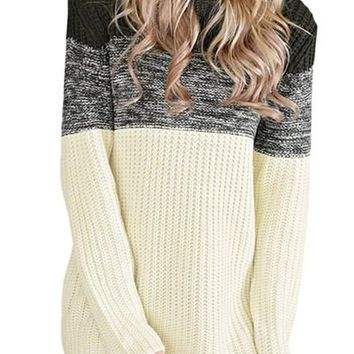 Women Black Cowl Neck Color Blocked Sweater