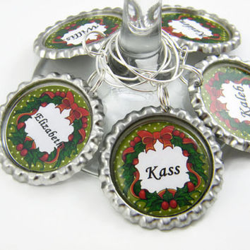 Wine Glass Charms , Personalized Party Favors , Christmas Table Decoration