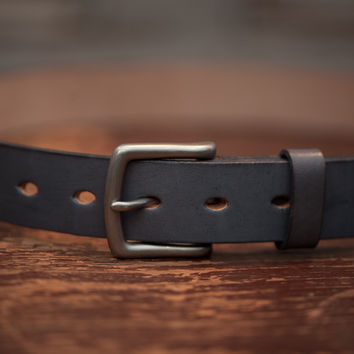 Leather Belt   Grey Leather with Brass Buckle