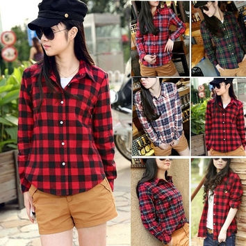 Women Button Cotton Casual Lapel Shirt Plaids Checks Flannel Shirt Top Blouse SV001033 Tops = 1745493252
