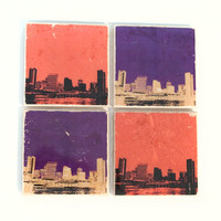 Baltimore Skyline Ravens & Orioles Stone Coasters Set of 4 (2 Baltimore Ravens Coasters and 2 Baltimore Orioles Coasters)