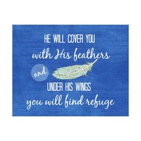 He will cover you with His feathers Bible Verse