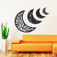 Sky Moon Stars Sun Space Decals Half Moon Crescent Wall Decal Vinyl Decals Sticker Home Interior Wall Decor for Any Room Housewares Mural Design Graphic Bedroom Wall Decal Nursery Baby Kids Children's Room (5914)