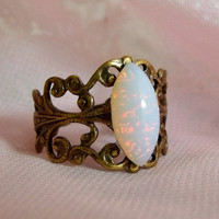 Antique Brass Opal Ring Glass Opal Rings by pinkingedgedesigns