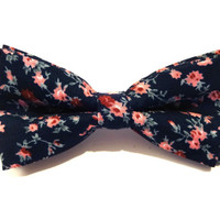 Bow Tie - floral bow tie - wedding bow tie - dark blue bow tie with pink flower pattern - man bow tie - flowers bow tie - men bow tie