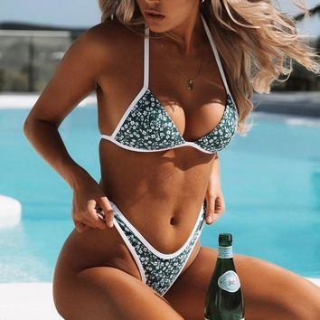 Summer Newest Hot Sale Women Sexy Floral Print Chest Knot Two Piece Bikini Swimsuit Bathing Green