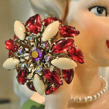 Rhinestone Brooch 1950s 50s Mid Century Aurora Borealis AB Ruby Red Cream Cabochons Cabs Tiered Domed Three Dimensional Swirled Swirl Brooch