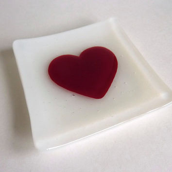 Sweetheart Fused Glass Ring Dish