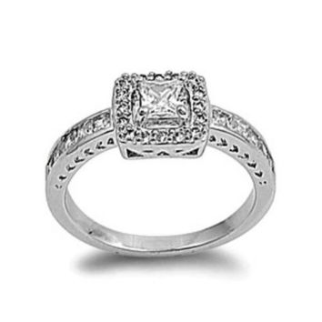 Sterling Silver Halo CZ Princess Cut Engagement Ring size 6-9