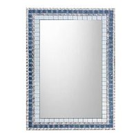 Silver Gray Blue Mixed Media Mosaic Mirror
