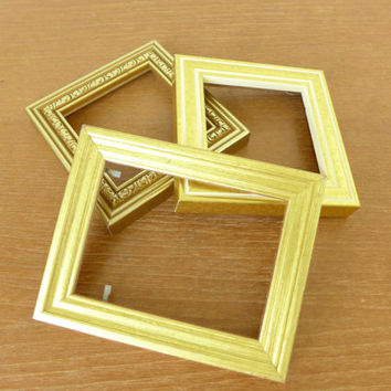 Three small gold wood picture frames, art frames