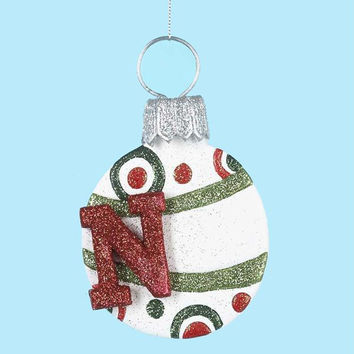 "3 Christmas Ornaments - Letter  "" N ""  Monogram"