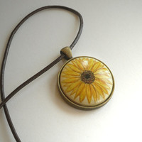 Sunflower Necklace, Brown Leather Cord Flower Art Pendant, Hand Painted Choker, Arts and Crafts