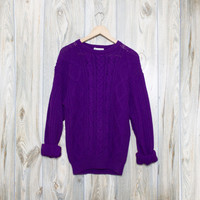 Vintage Cable Knit Purple Oversized Sweater