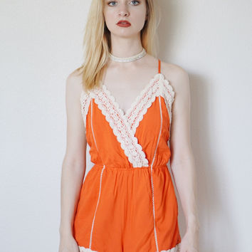 Cadence Crochet Trim Romper (Orange)