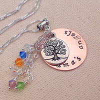 Grandma's Angels grandma or mommy necklace with kids grandkids birthstones. Tree of life charm. Family tree neckl