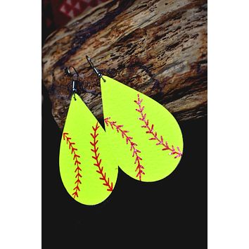 Softball Leather Tear Drop Earrings