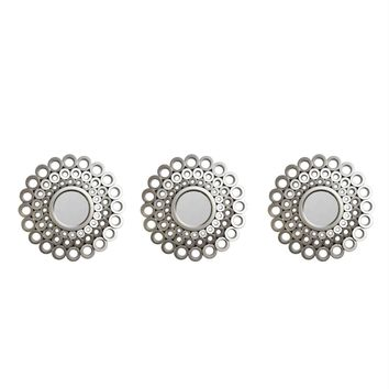 """Set of 3 Cascading Angular Orbs Matte Pewter Gray Decorative Round Mirrors 9.5"""""""