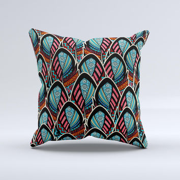Intense Colorful Peacock Feather Ink-Fuzed Decorative Throw Pillow