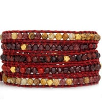 Red Precious Mix Wrap Bracelet on Natural Dark Red Leather