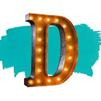 """24"""" Letter D Lighted Vintage Marquee Letters (Rustic)"""