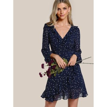 Navy V-Neck Long Sleeve Wrap Shift Dress