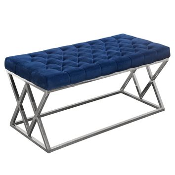 Vixen Accent Bench with Navy Blue Tufted Velvet Seat and Polished Stainless Steel Base