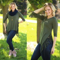 Fringe Fantasy Top in Olive
