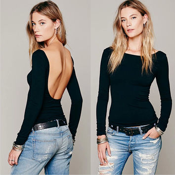 Autumn Women's Fashion Stylish Sexy Tops Backless Long Sleeve T-shirts [6338696132]