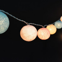 20 Lights  - 4 Color Pastel Night Cotton Ball String Lights Fairy Lights Patio Lights Wedding Lights Decoration Lights