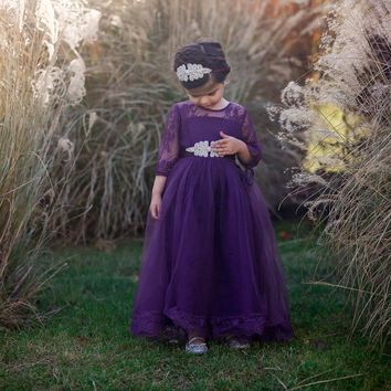 Gabriella Eggplant Dark Purple Lace Sleeve Tulle Skirt Dress Gown with Sash