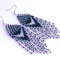 Native American Earrings Inspired. Silver  Black  Earrings. Dangle  Earrings.Long Earrings.  Beadwork.