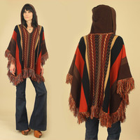 Vintage 70's Hooded Tribal Fringe Poncho Sweater // Hippie Bohemian BoHo Cape 1970's free size s / m / l / xl