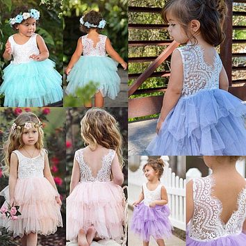 2017 Toddler Kids Baby Girls Lace Dress Party Backless Lace Ruffle Party Sleeveless Pageant Princess Dresses