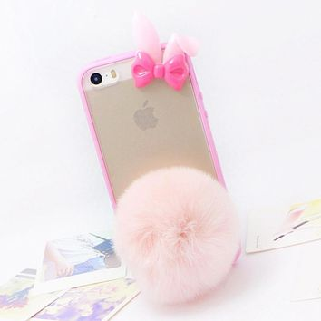 Women's fashion rabbit fur phone case for Apple iPhone 5 5s 6 6s 7 plus Case Handmade cute candy color plush case Real fur cover