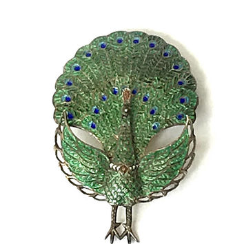 Siam Sterling Enamel Peacock Brooch, Vintage 1980s,  Green and Blue Enamel, Hinged Folding, Figural, Bird Brooch, Collectible, Siam Jewelry