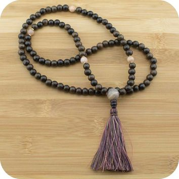 Tiger Ebony Wood Mala with Peach Moonstone