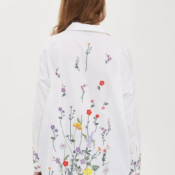Floral Embroidered Shirt - Tops - Clothing