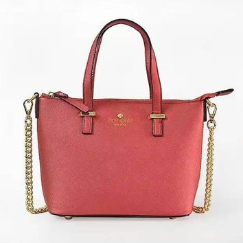 KATE SPADE Women Shopping Leather Metal Chain Crossbody Satchel Shoulder Bag-3