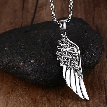 Stainless Steel Angel Wing Necklace - Silver/Gold