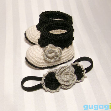 Black Swan Inspired, Crochet Baby Shoes, Baby Headband Set, Crochet Baby Booties, baby booties set,baby shoes set,baby girl shoes,baby shoes